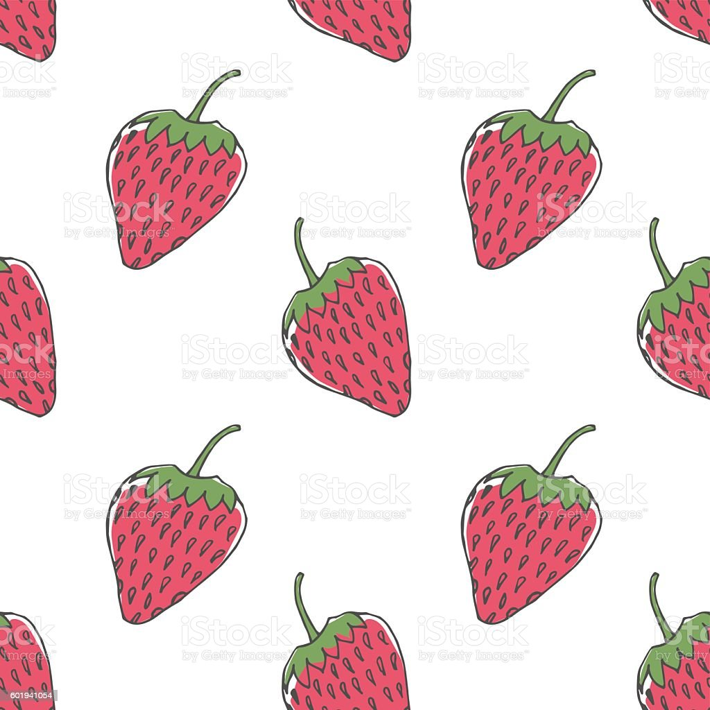 Seamless strawberry pattern vector art illustration