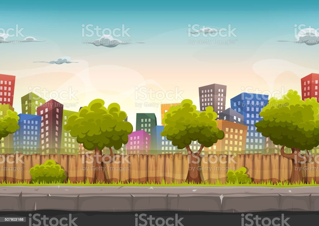 Seamless Street City Landscape For Game Ui vector art illustration