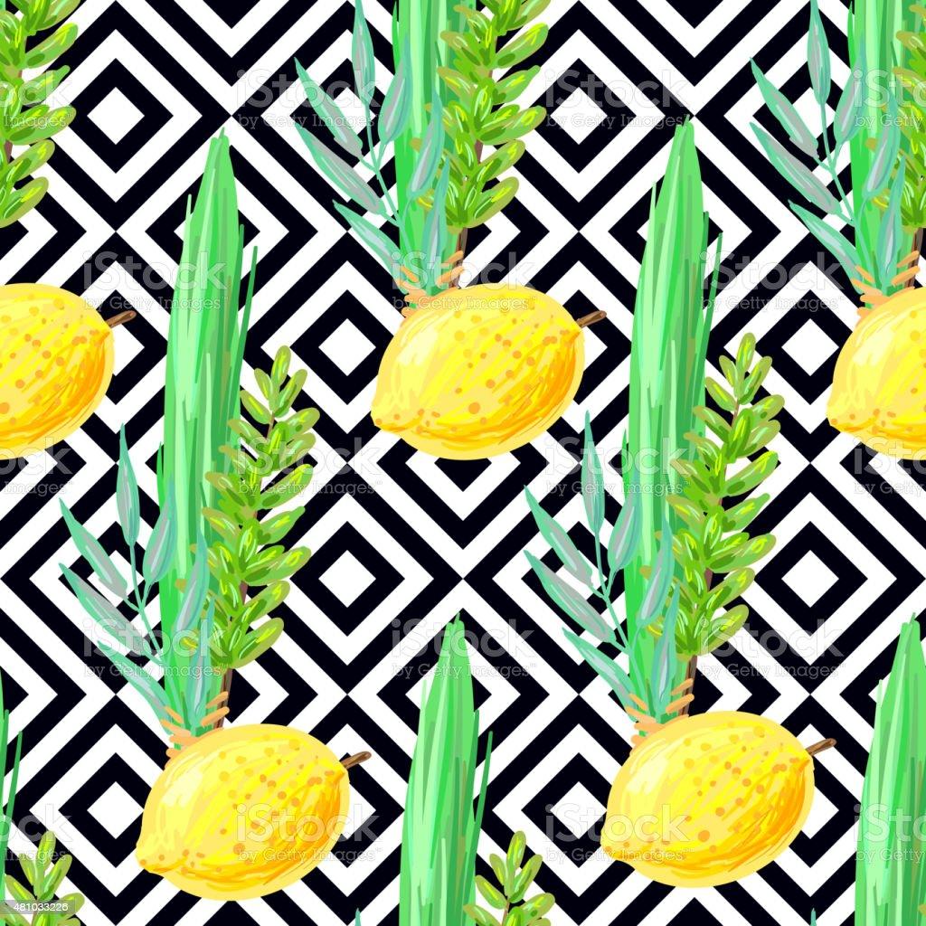 Seamless Sukkot pattern vector art illustration