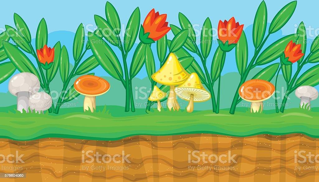 Seamless summer landscape with red flowers  mushrooms game design vector art illustration