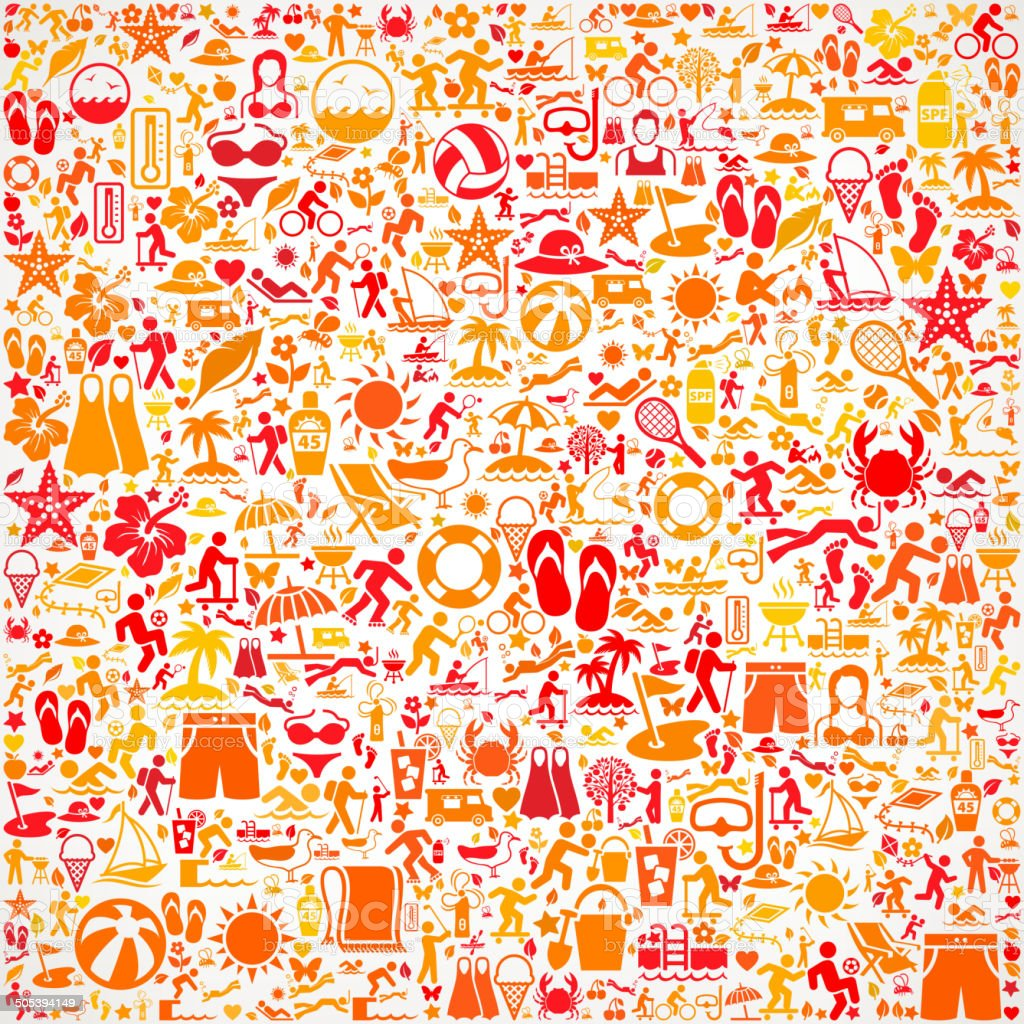 Seamless Summer Icon Pattern vector art illustration