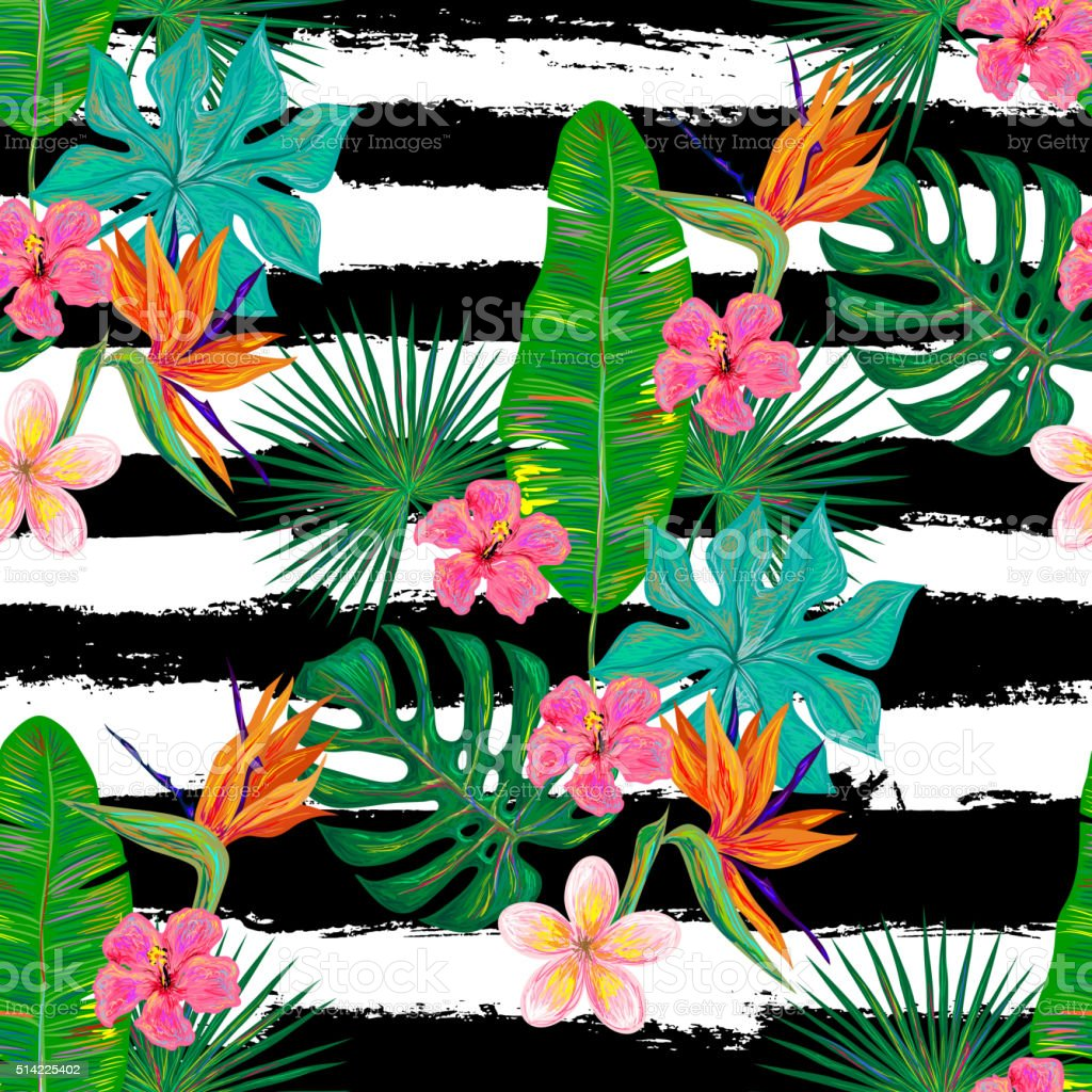 Seamless summer tropical pattern with exotic flowers and leaves vector art illustration