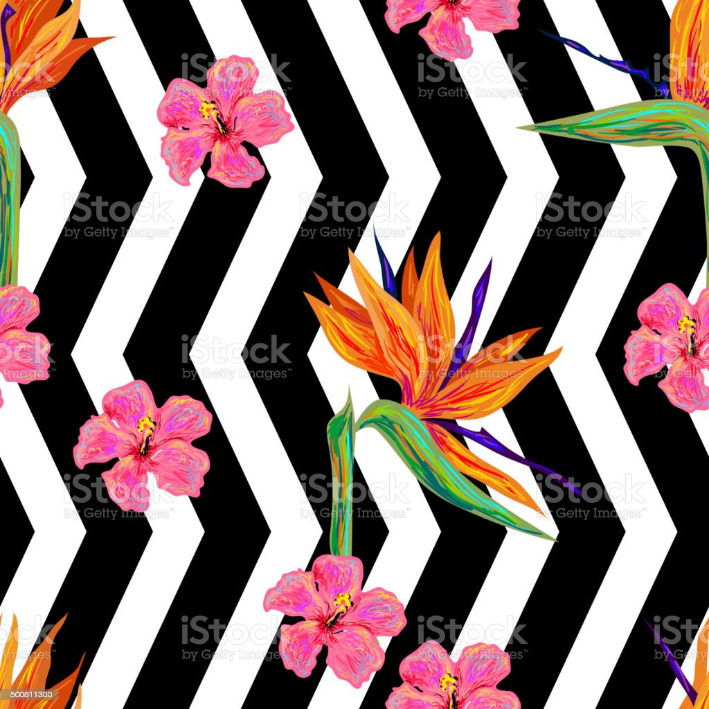 Seamless summer tropical pattern with exotic flowers vector art illustration