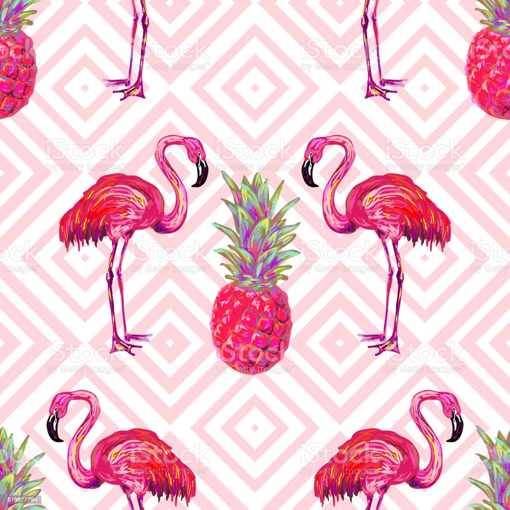 Seamless summer tropical pattern with flamingo and pineapple vector art illustration