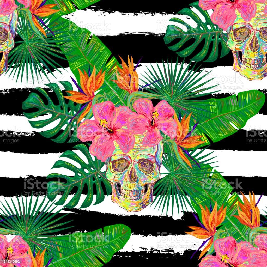 Seamless summer tropical pattern with skulls vector art illustration