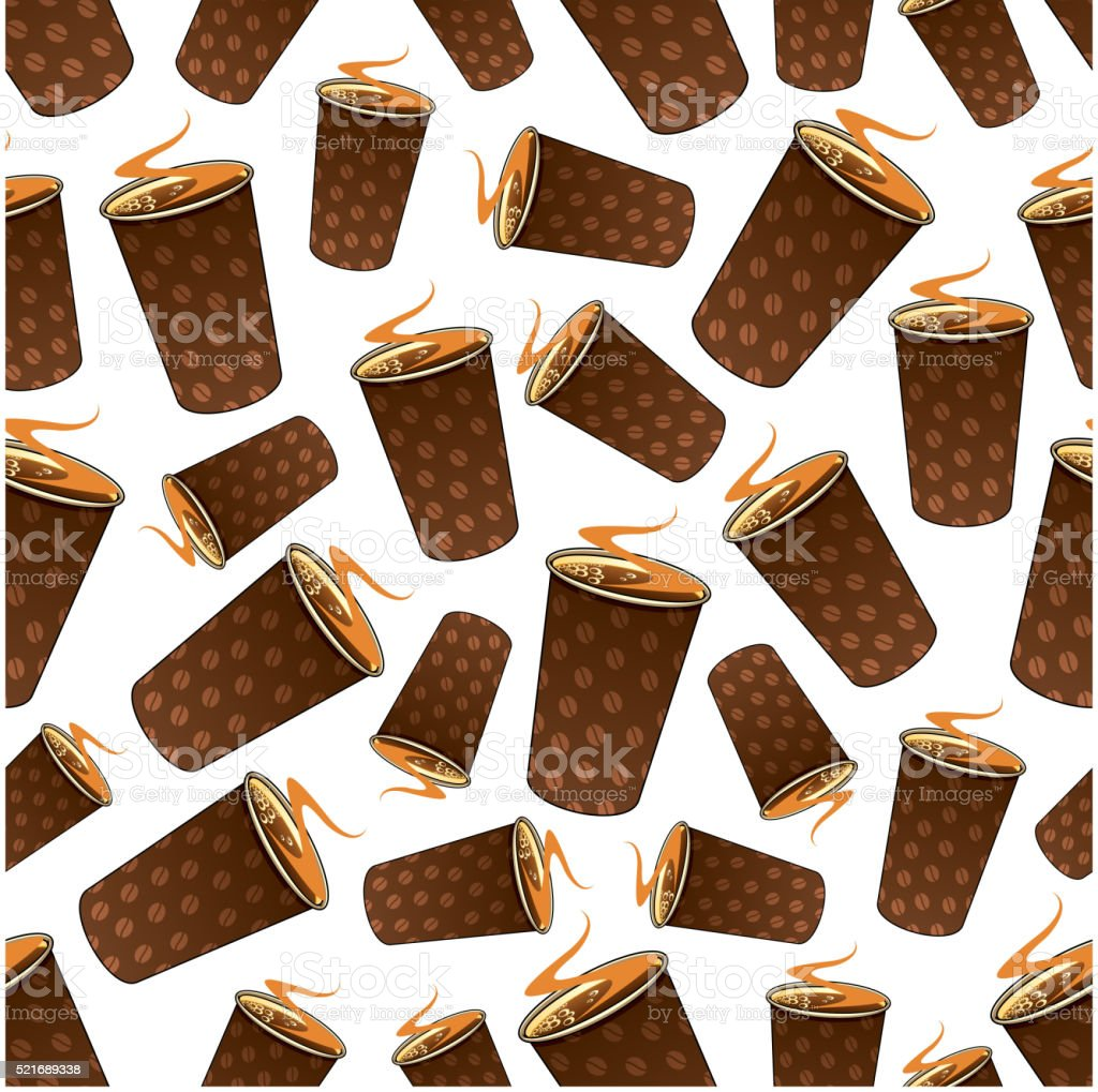 Seamless takeaway coffee paper cups pattern vector art illustration