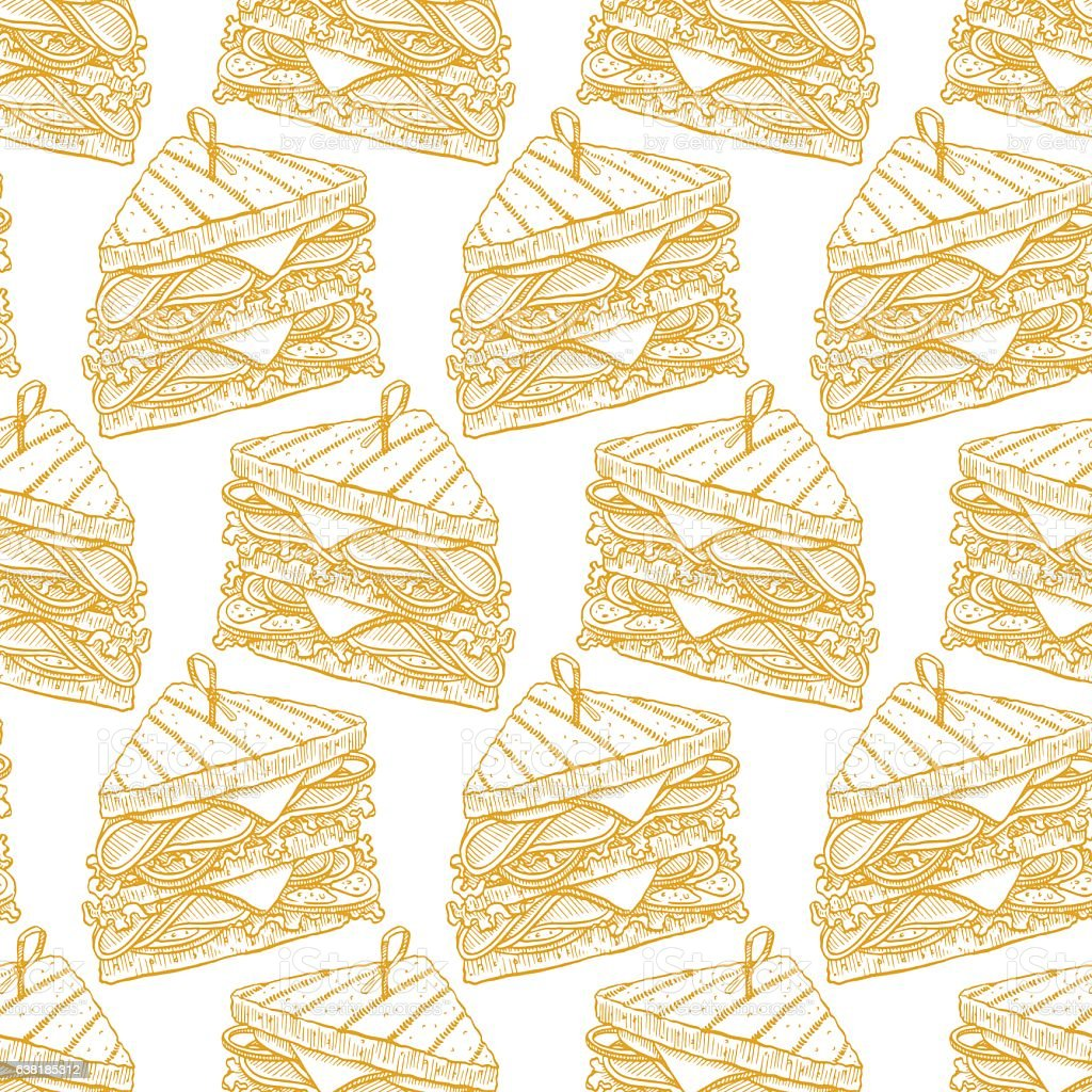 seamless tasty sandwiches vector art illustration
