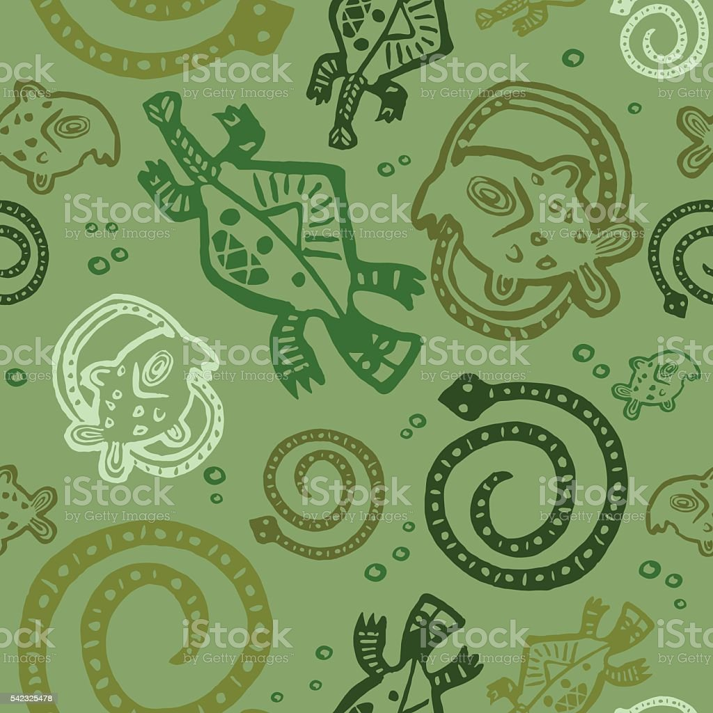 seamless texture African Injun folk style multicolored pattern vector art illustration
