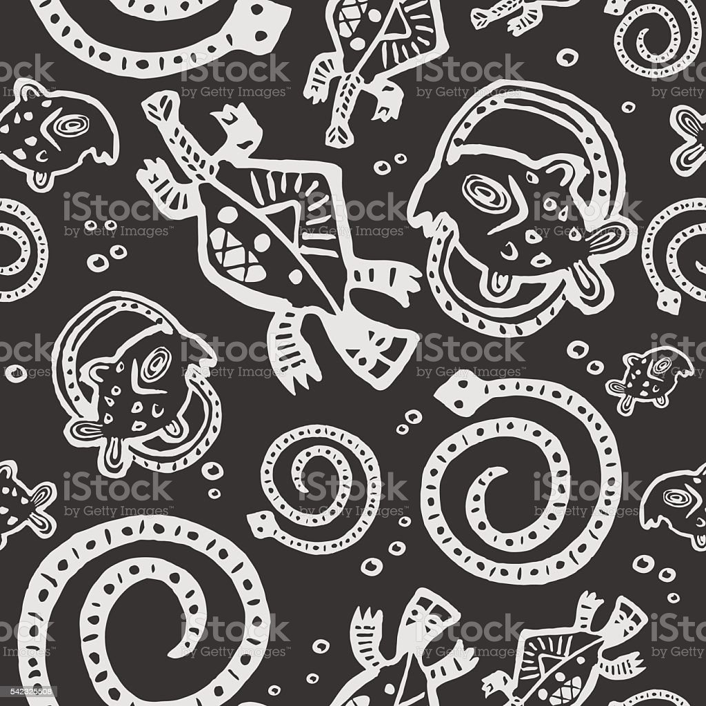 seamless texture African Injun folk style pattern black and whit vector art illustration