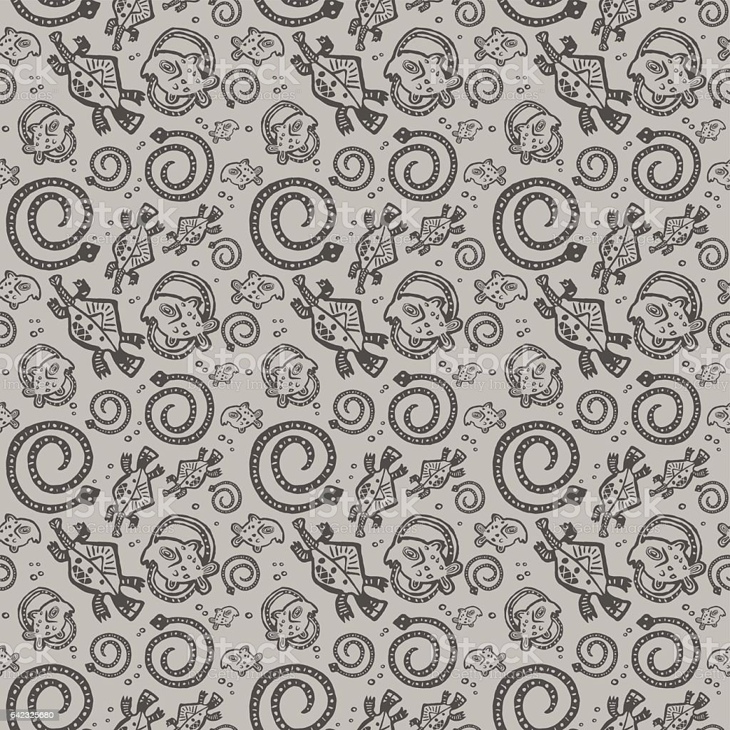 seamless texture African Injun folk style pattern gray and black vector art illustration