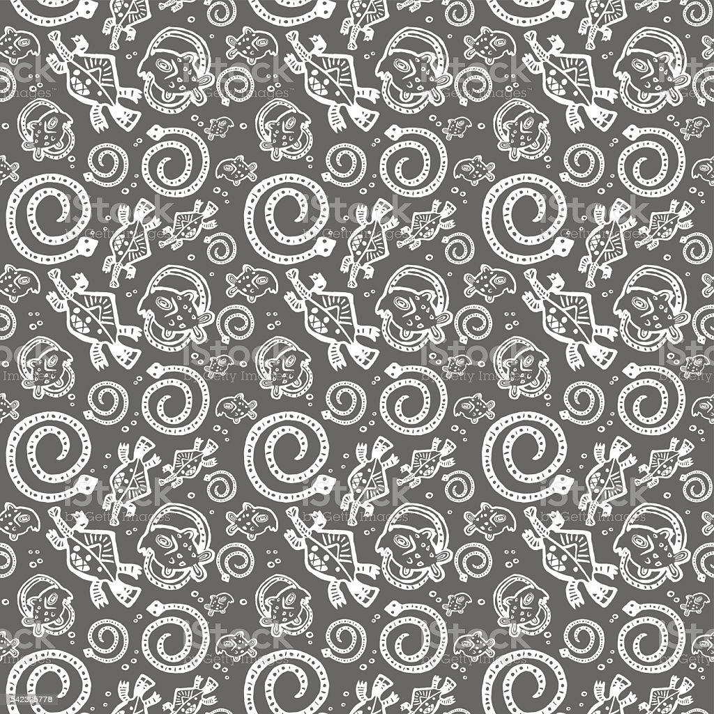 seamless texture African Injun folk style pattern gray and white vector art illustration