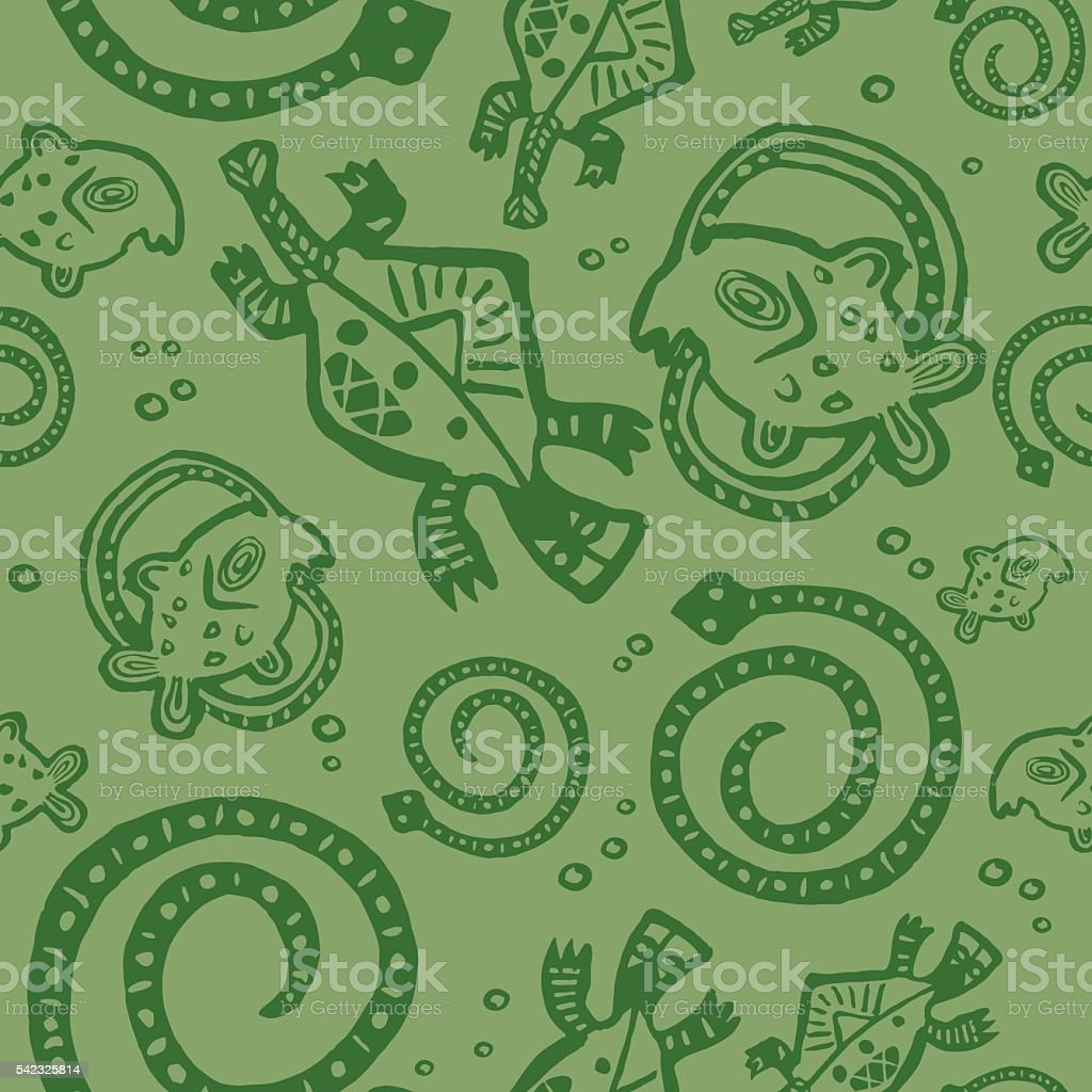 seamless texture African Injun folk style pattern green vector art illustration
