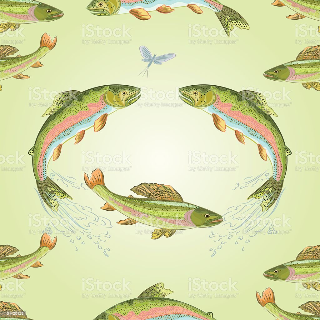 Seamless texture  American trout and ephemera vector vector art illustration