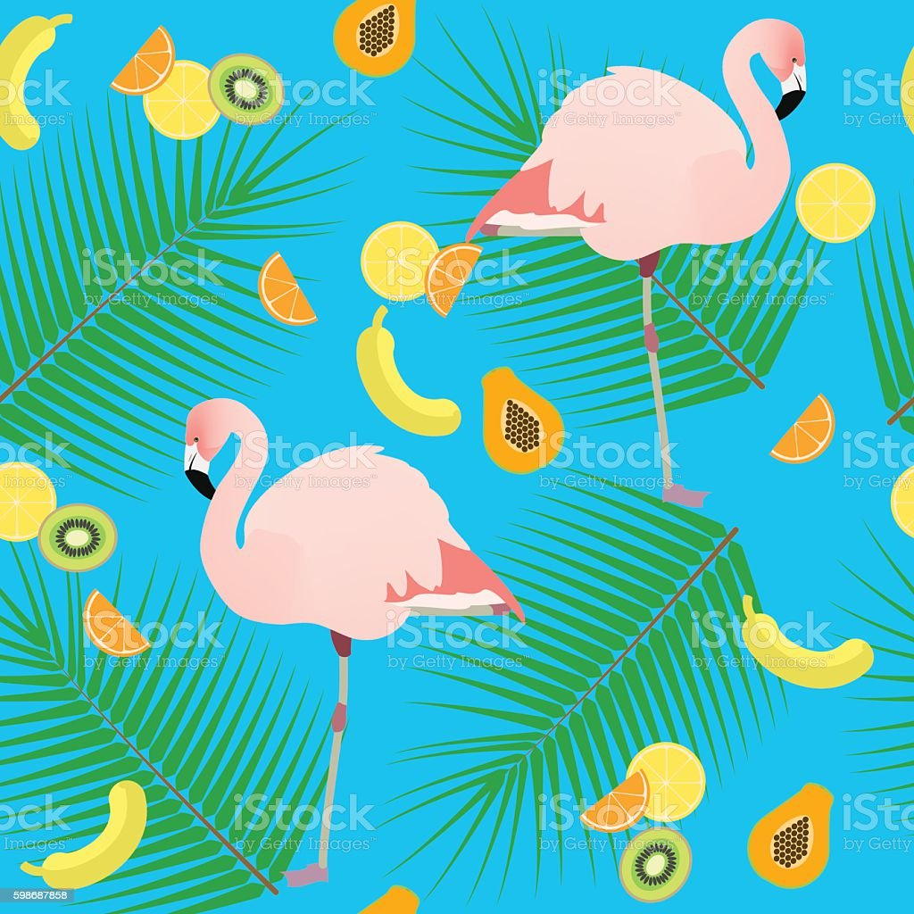 Seamless texture , flamingos in the background of leaves and fruits vector art illustration