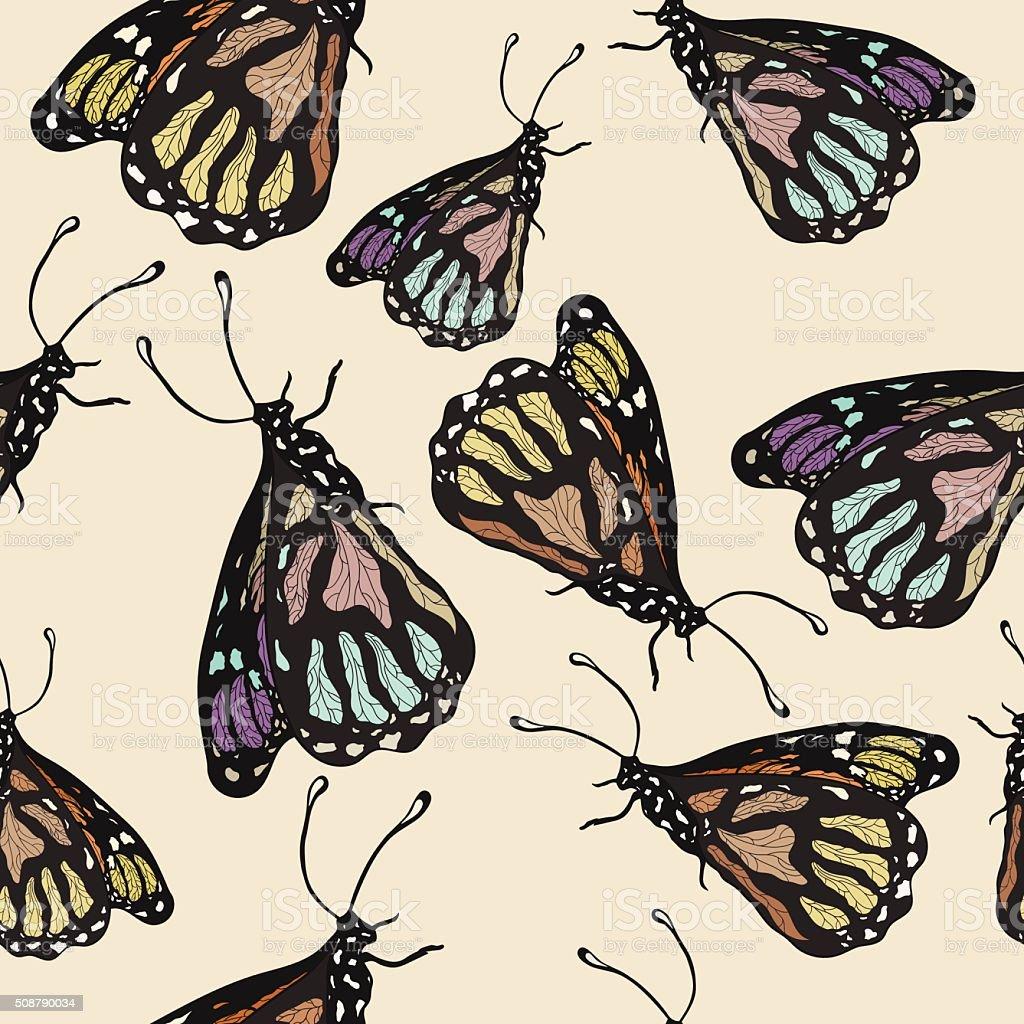 Seamless texture of butterflies. Multicolored butterflies on a light beige background royalty-free stock vector art