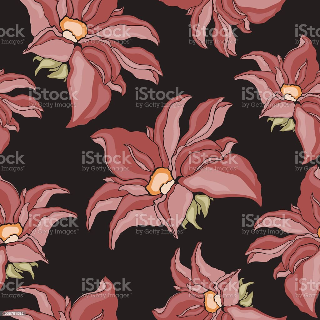 Seamless texture of flowers. Lily flowers on a black background. royalty-free stock vector art