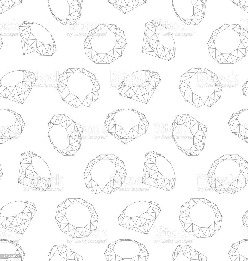 Seamless Texture of Three-dimensional Diamonds vector art illustration