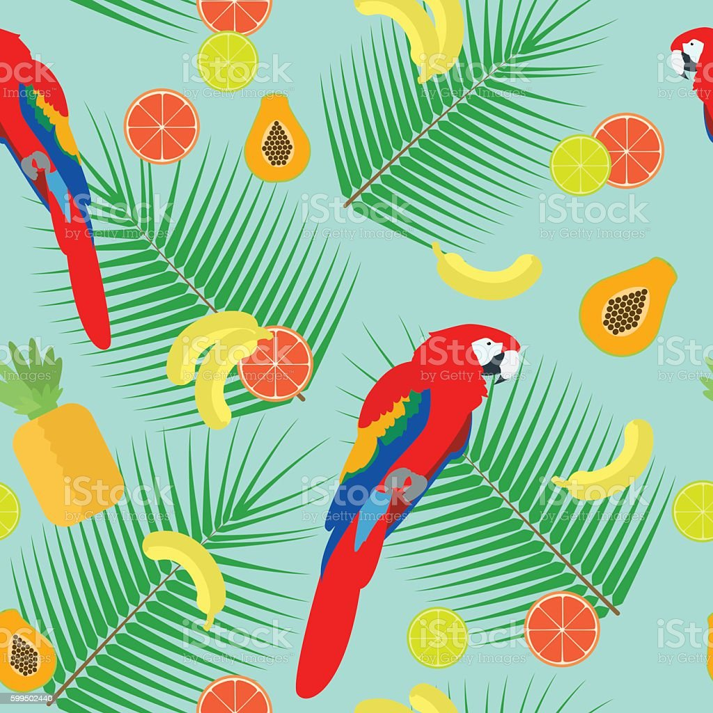 Seamless texture , parrot on a blue background , vector vector art illustration