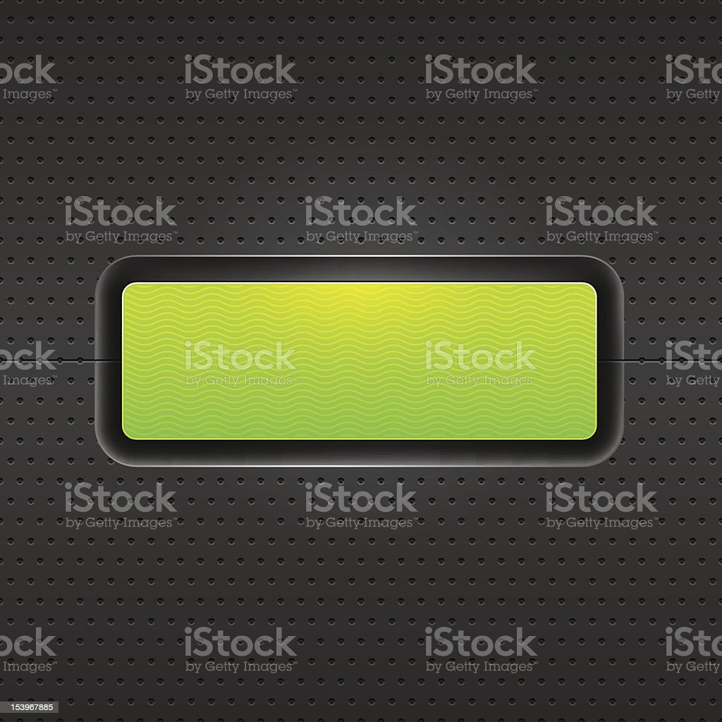 Seamless texture perforated metal empty icon green button dark background royalty-free stock vector art