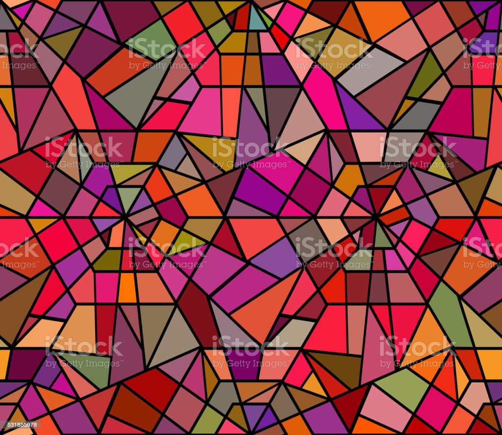 Seamless texture with a broken stained glass. vector art illustration
