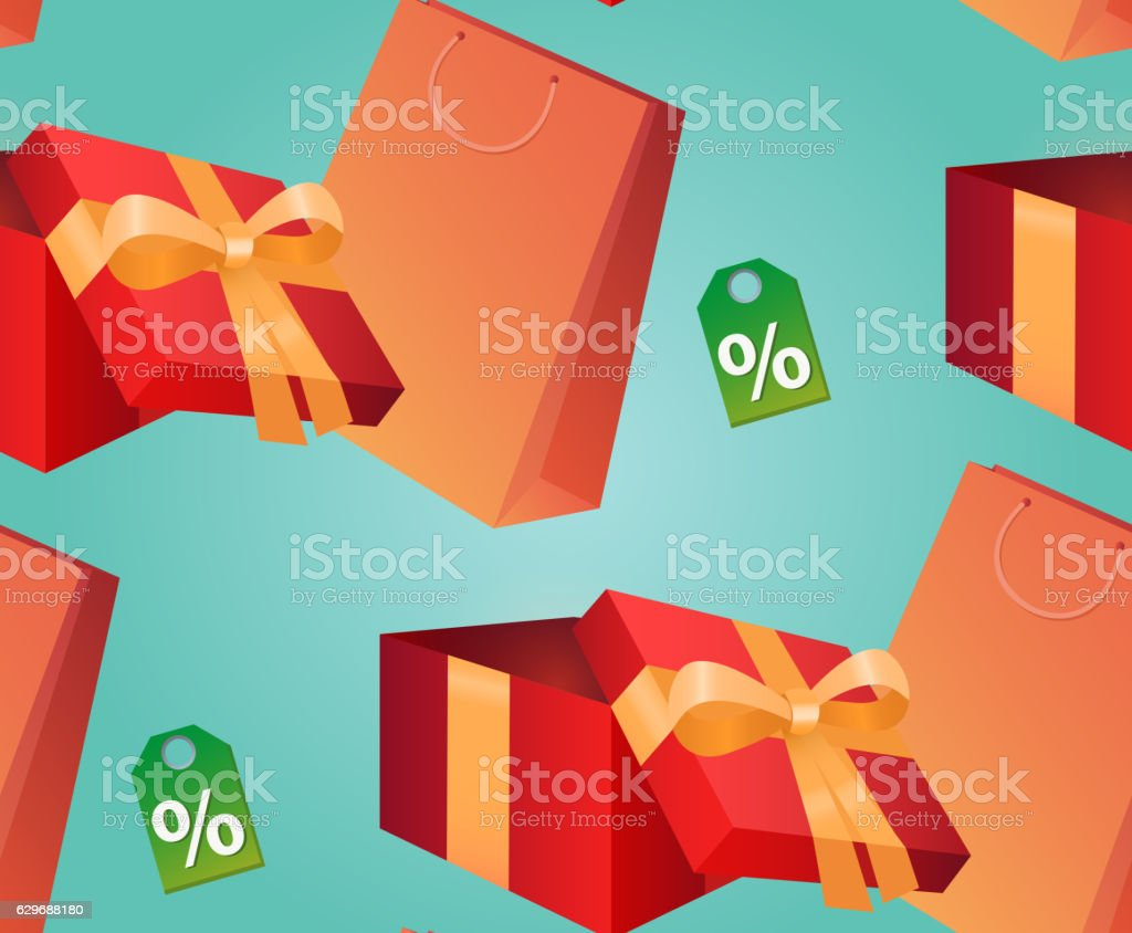 Seamless texture with a gift box, paper bag vector art illustration
