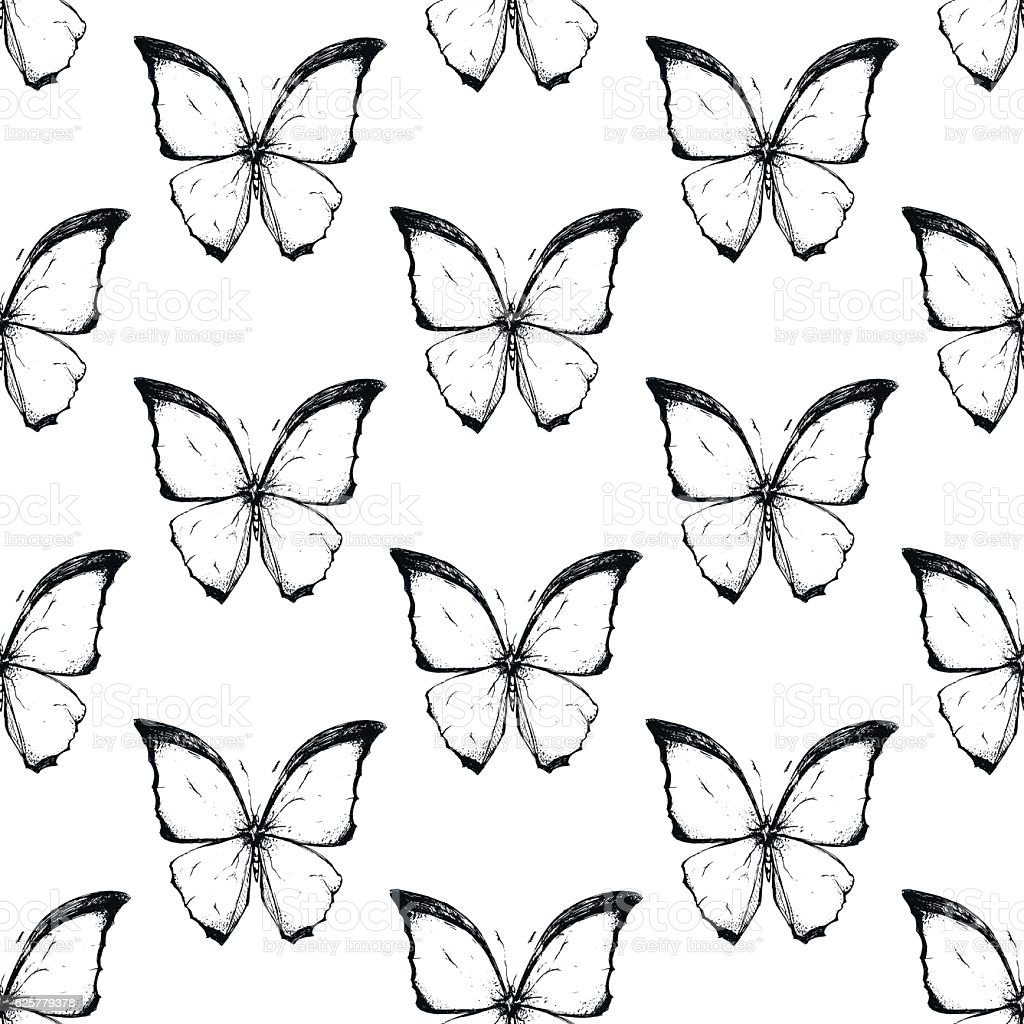 Seamless texture with beautiful black and white butterflies. vector art illustration