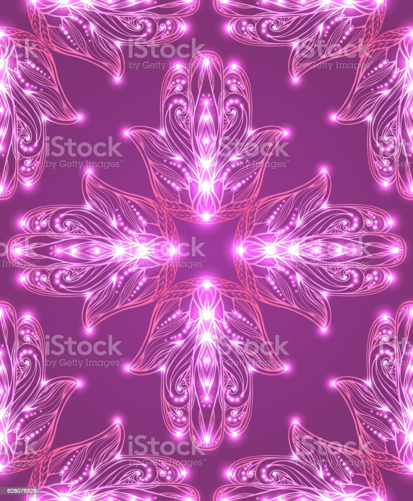 Seamless texture with colored tribal Hamsa with boho pattern. vector art illustration