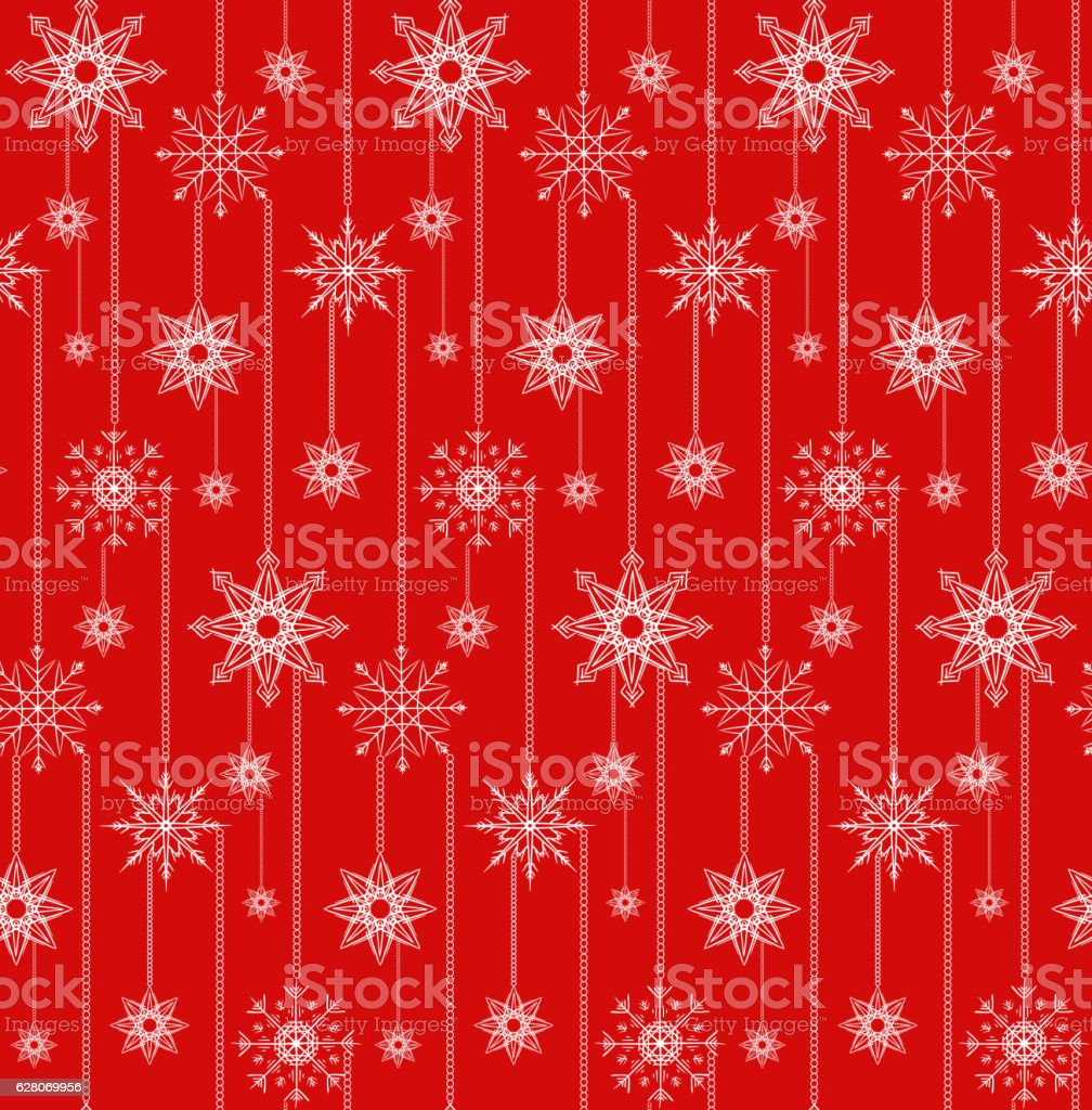 Seamless texture with festive garlands of snowflakes. vector art illustration