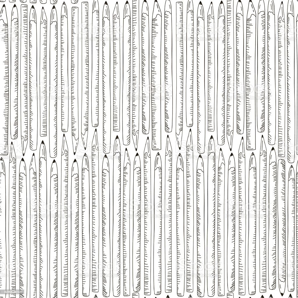 Seamless texture with hand drawn comic pencils. vector art illustration