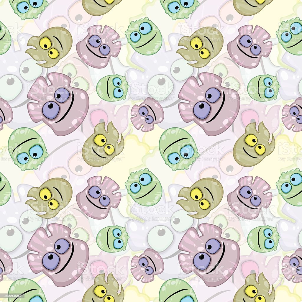 Seamless texture with little monsters or germs vector art illustration