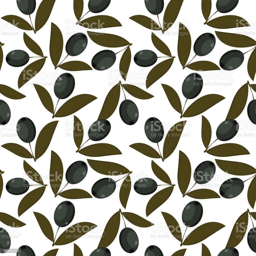 Seamless texture with olive fruits vector art illustration
