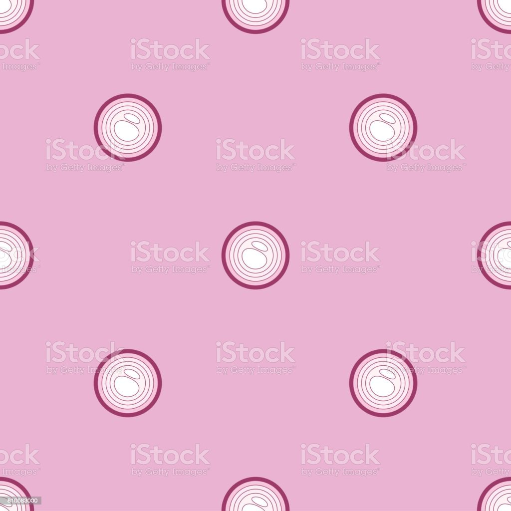 Seamless texture with red onion slices flat style pattern vector art illustration