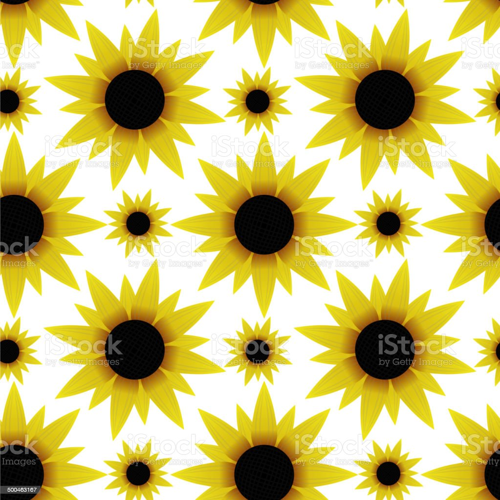 Seamless texture with sunflowers vector art illustration