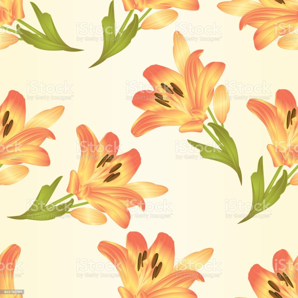 Seamless texture yellow lily  flower with leaves and buds vintage  vector illustration editable vector art illustration