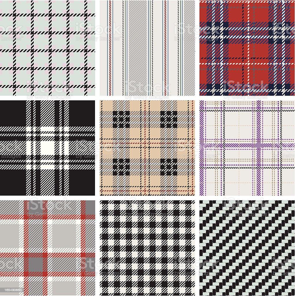 Seamless textured plaid pattern vector art illustration