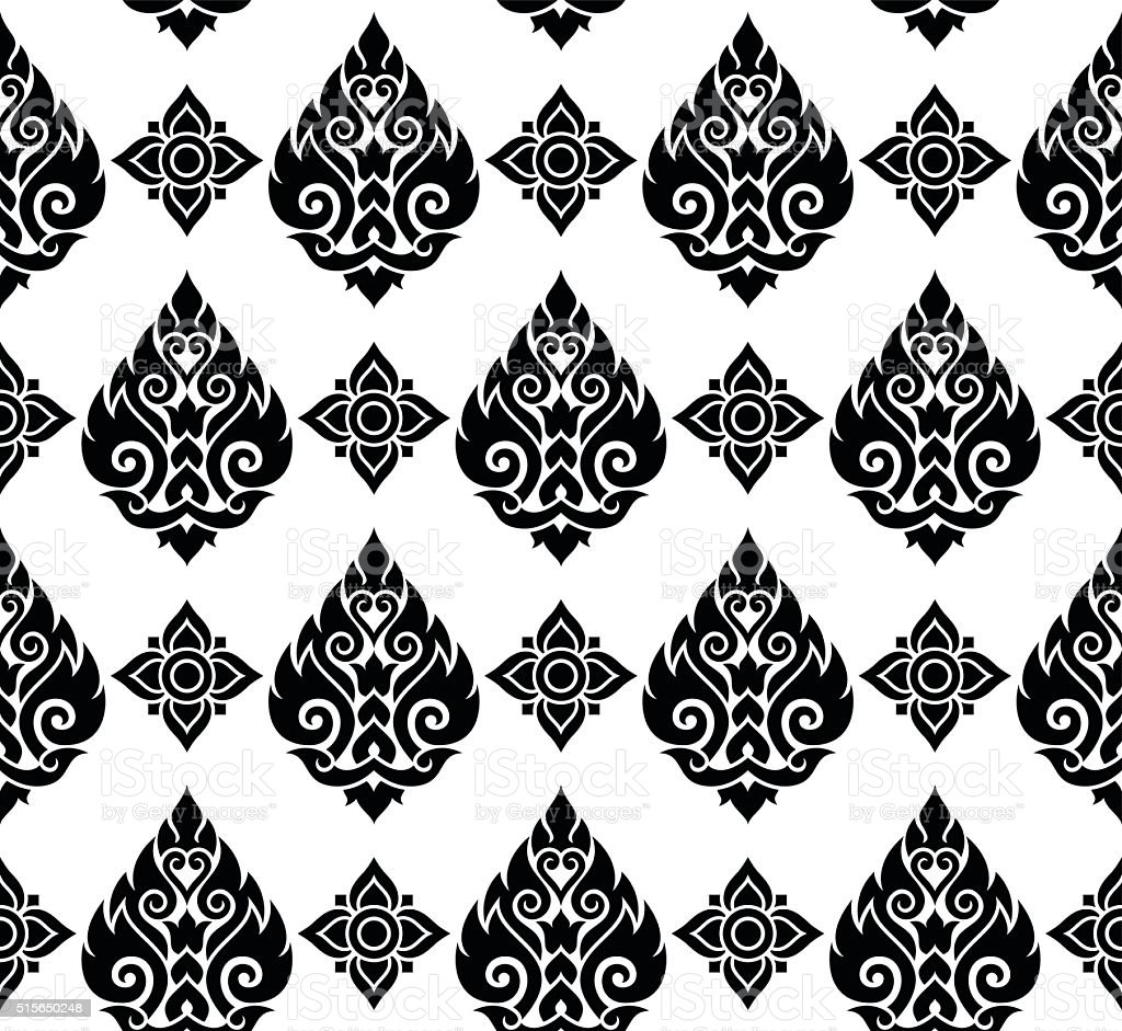Seamless Thai pattern, repetitive background from Thailand - Lai Thai vector art illustration