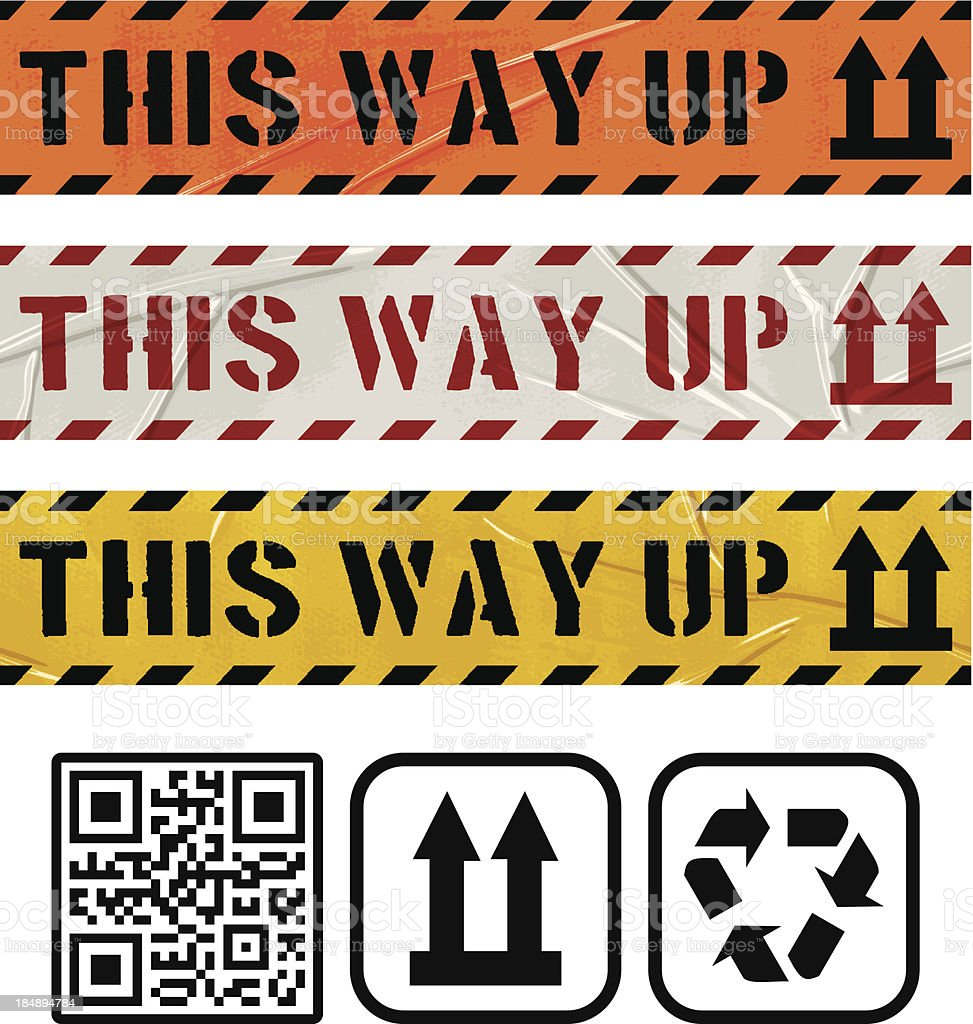 seamless this way up duct tape banners royalty-free stock vector art
