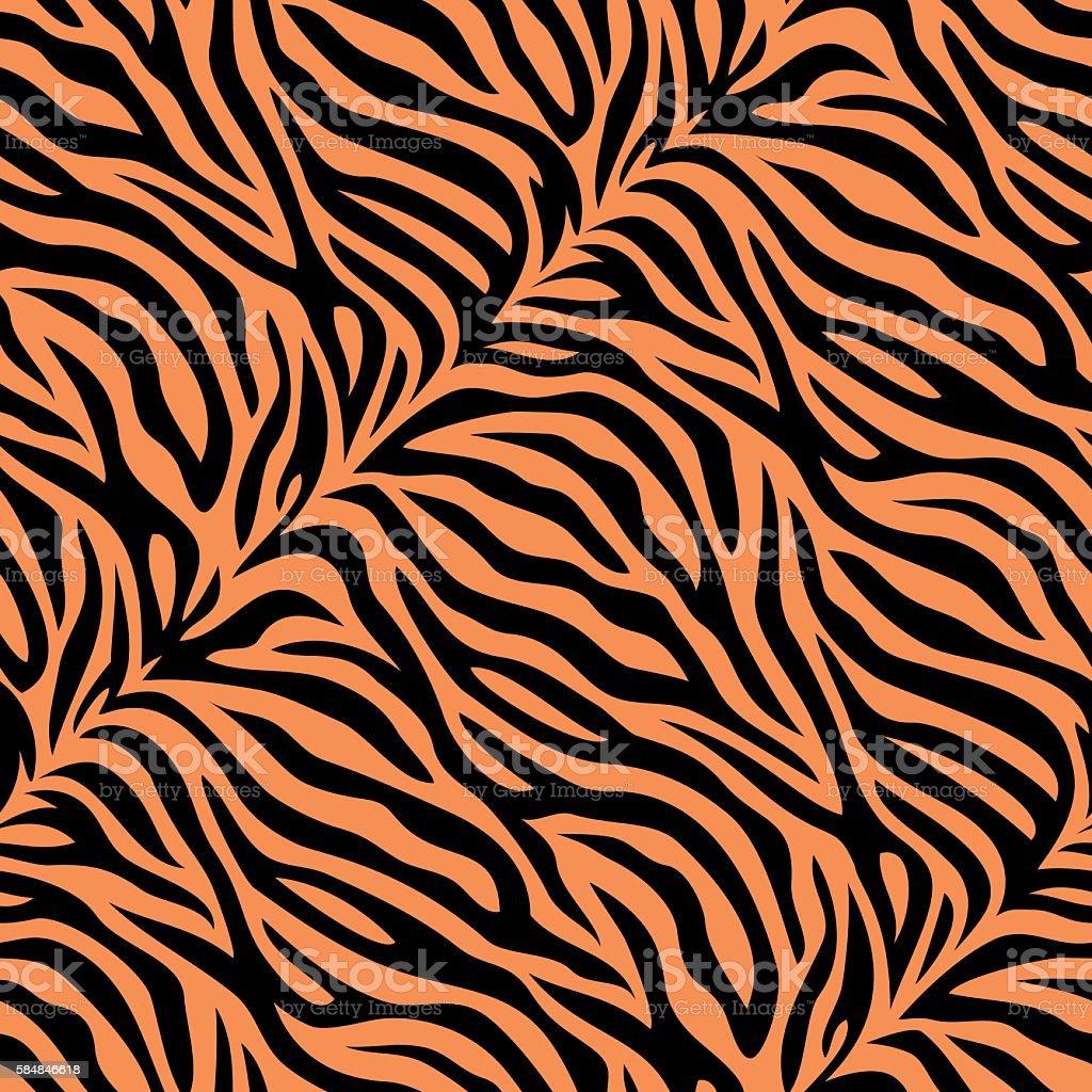 Seamless tiger skin pattern vector art illustration