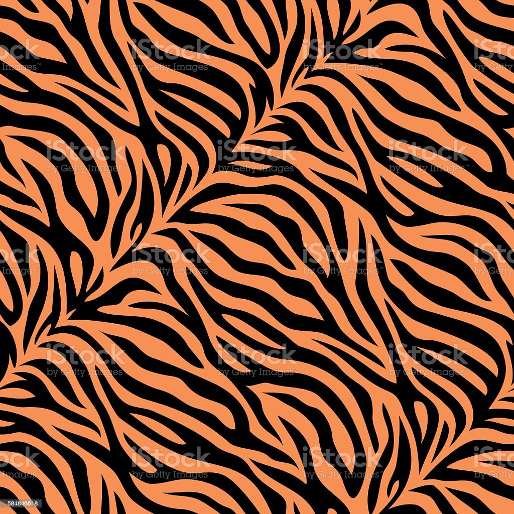 Seamless tiger skin pattern vector art illustration