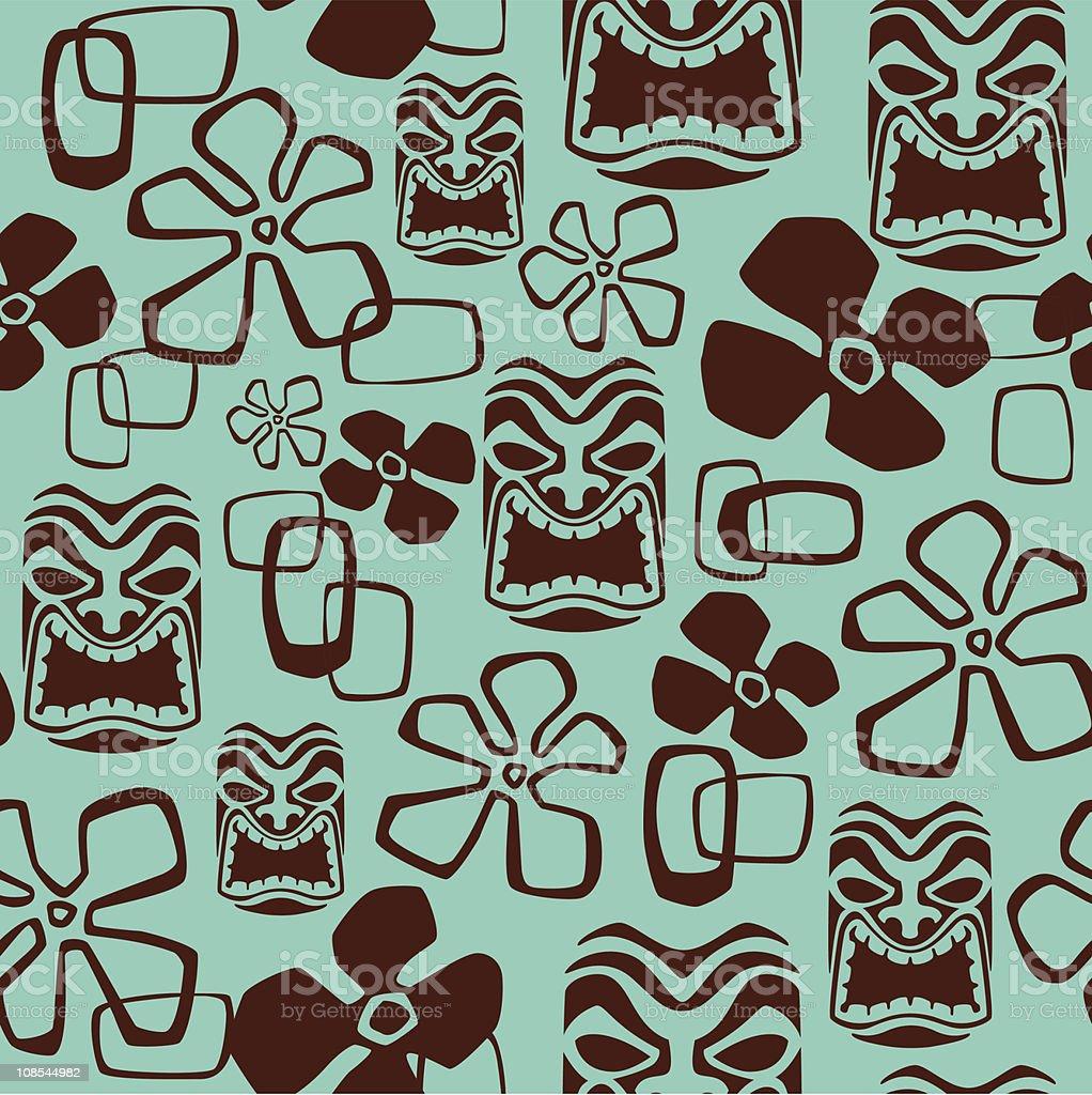 Seamless Tiki Mask Pattern royalty-free stock vector art