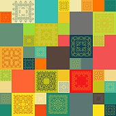 Seamless tile pattern. Vintage decorative colorful elements.  vector illustration.