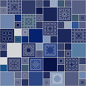Seamless tile squire pattern frame. Wallpaper, textures, textile, blue. vector