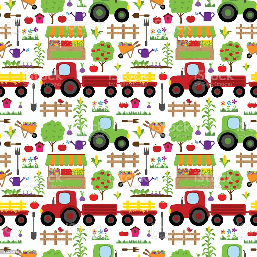 Seamless, Tileable Farming or Gardening Themed Vector Background Pattern vector art illustration