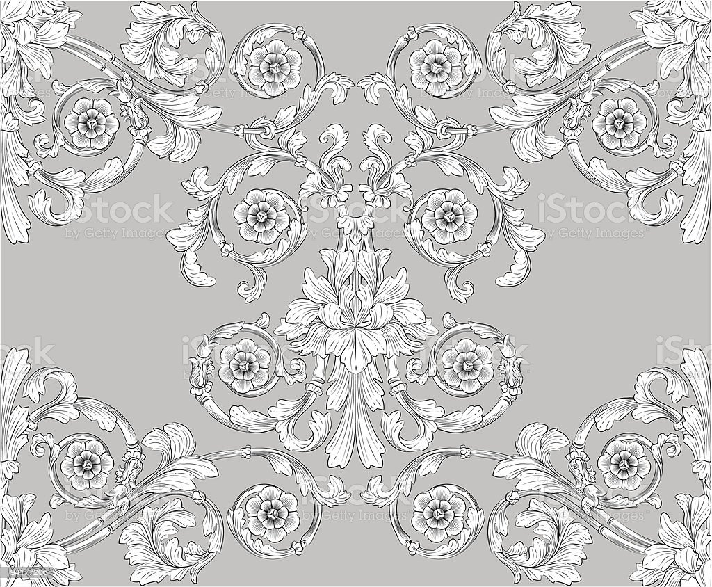 seamless tiling floral wallpaper pattern royalty-free stock vector art