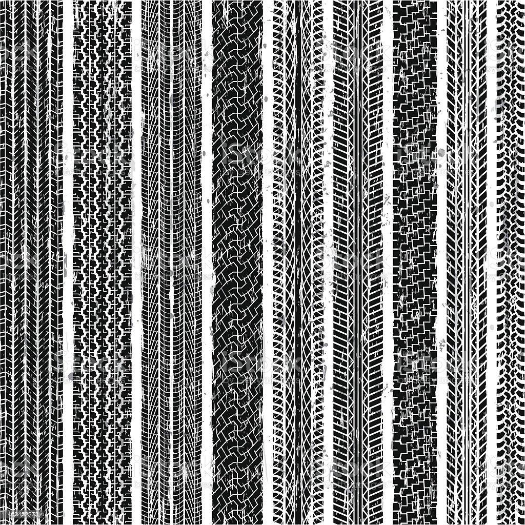 Seamless Tire Tracks vector art illustration