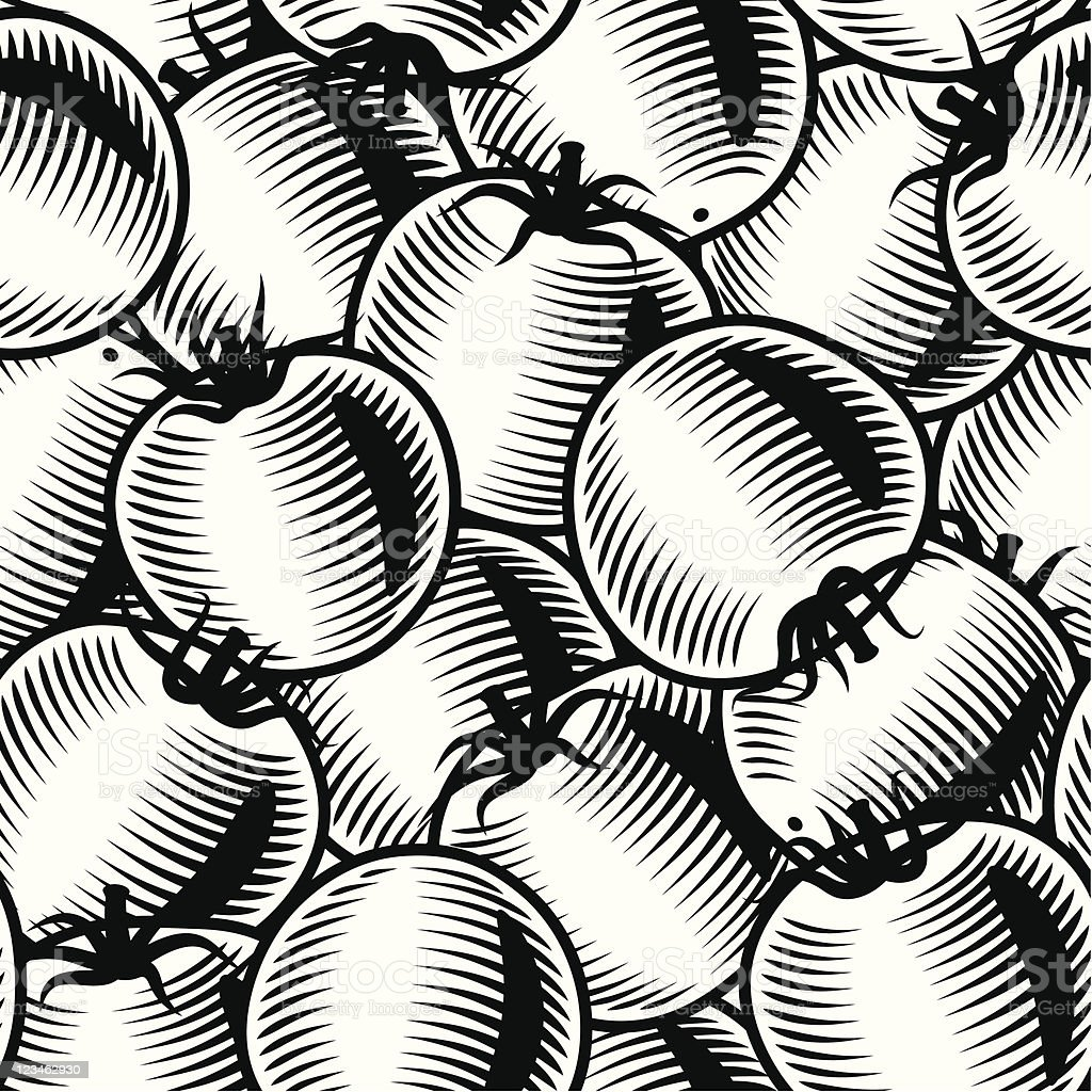 Seamless tomato background black and white royalty-free stock vector art