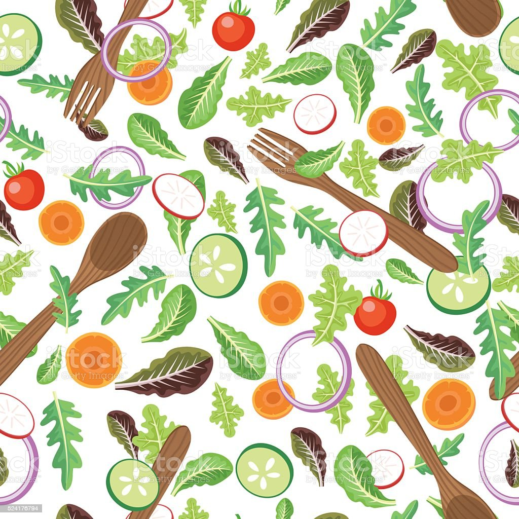 Seamless Tossed Salad With Serving Utensils Pattern vector art illustration