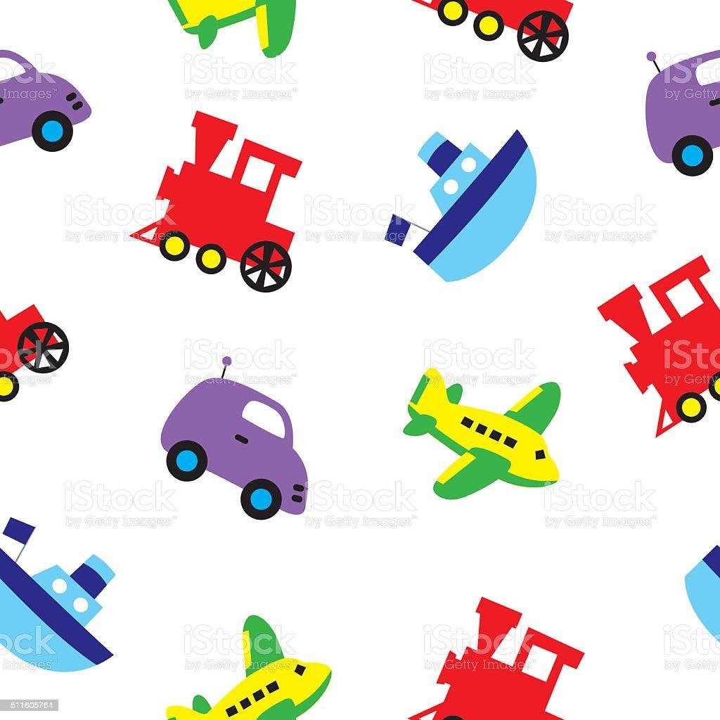 Seamless Toys Pattern vector art illustration