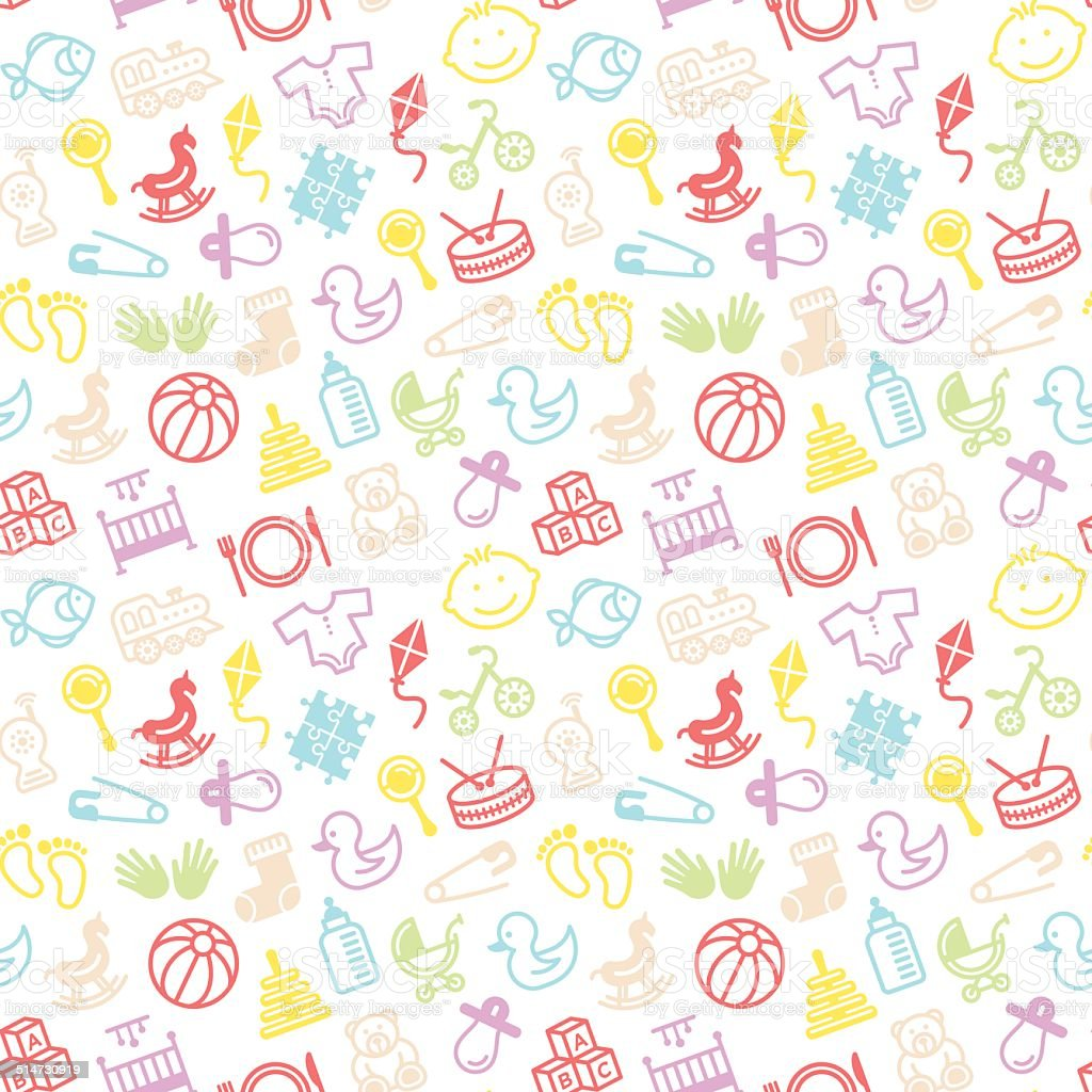 Seamless Toys Pattern vector art illustration