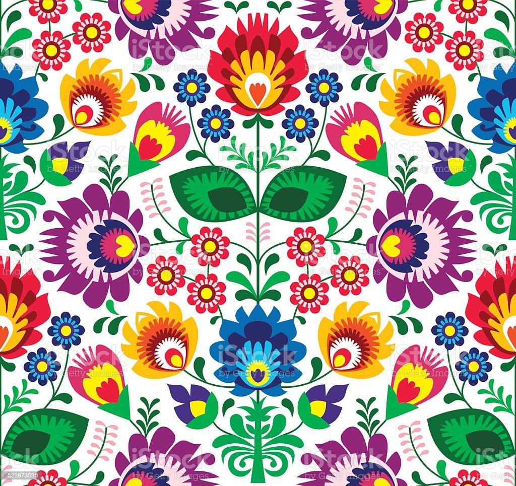 Seamless traditional floral Polish folk art pattern vector art illustration